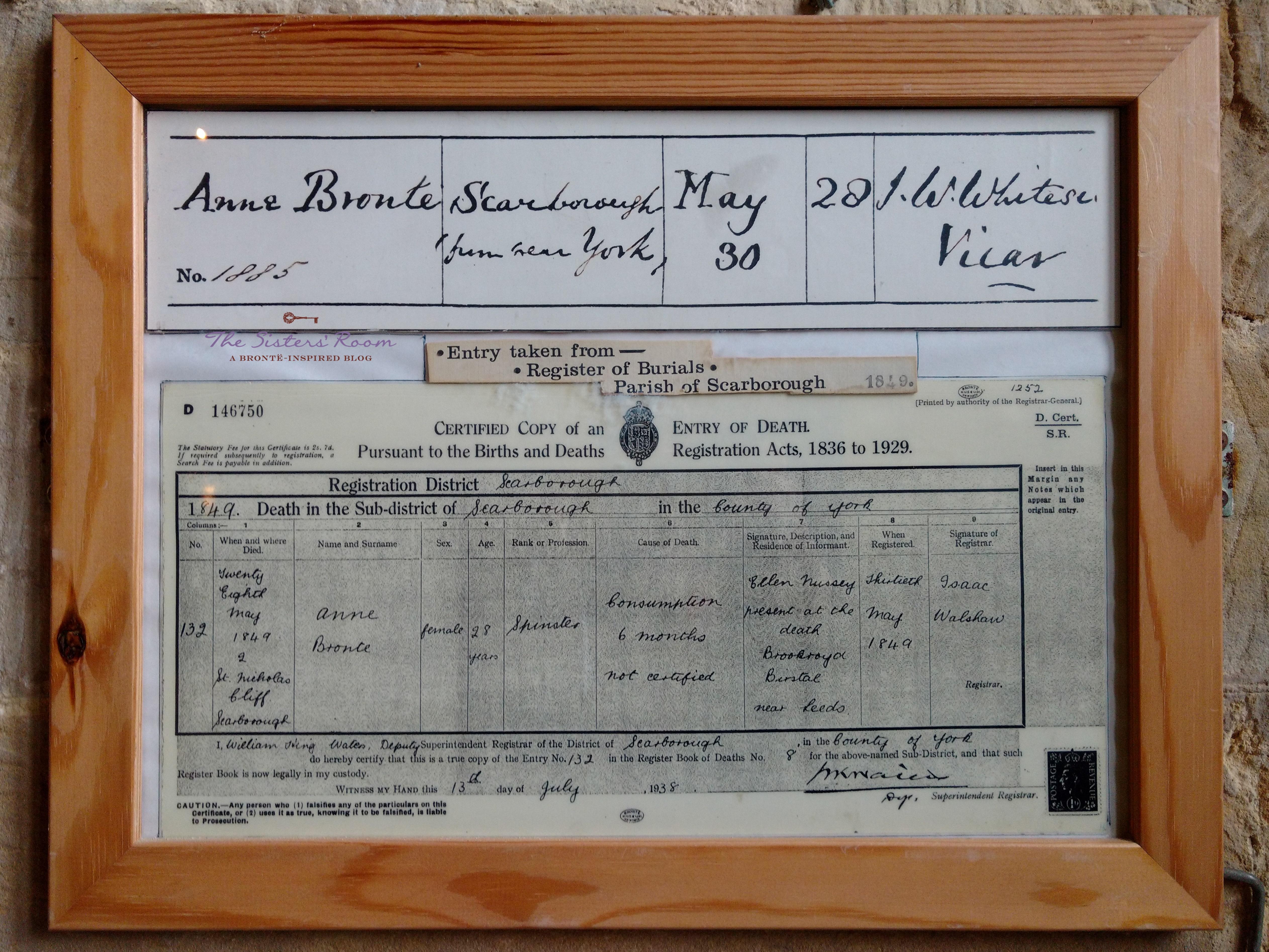 Anne Brontë certificato morte